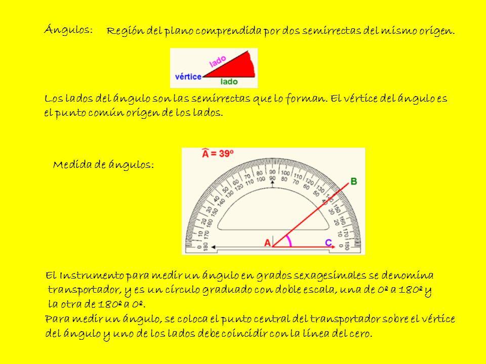 Ángulos: Medida de ángulos: Región del plano comprendida por dos semirrectas del mismo origen. El Instrumento para medir un ángulo en grados sexagesim