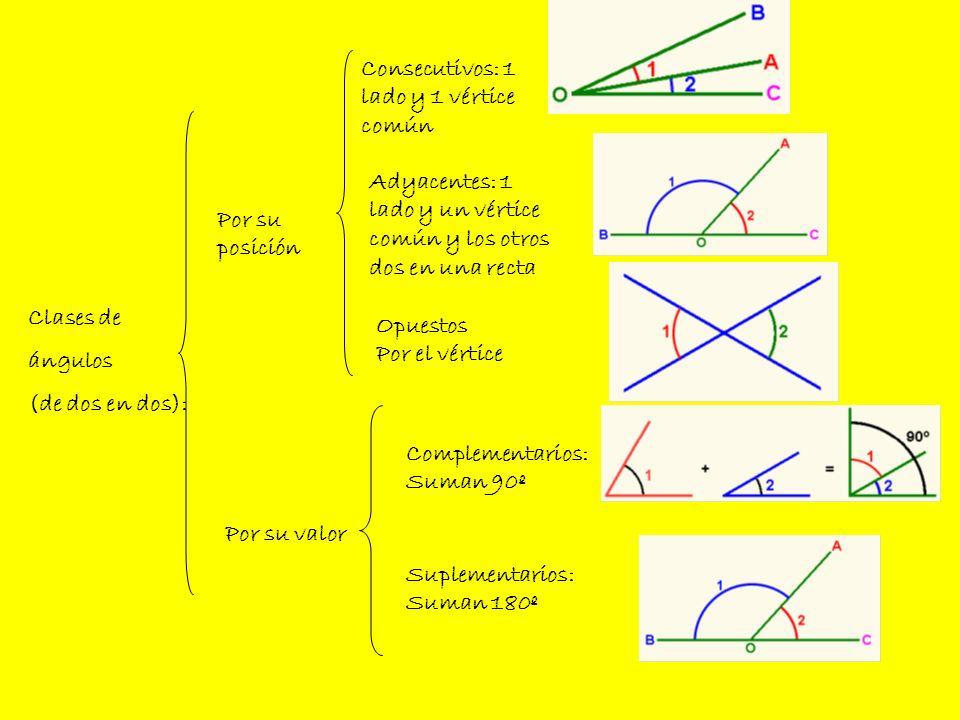 Clases de ángulos (de dos en dos): Consecutivos: 1 lado y 1 vértice común Por su posición Por su valor Adyacentes: 1 lado y un vértice común y los otr