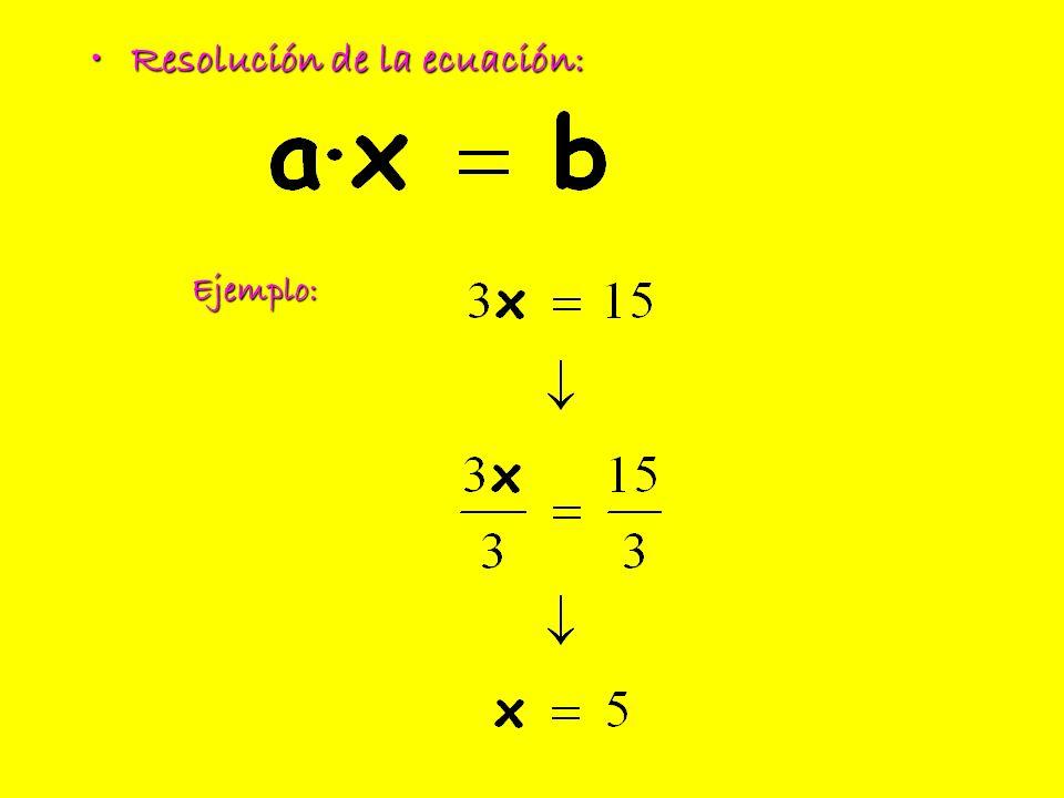 Resolución de la ecuación:Resolución de la ecuación: Ejemplo: