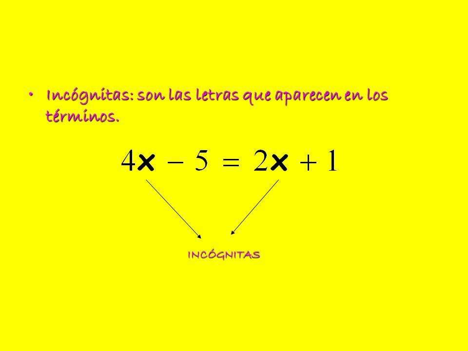 Solución: son los valores que deben tomar las letras para que se cumpla la igualdad.Solución: son los valores que deben tomar las letras para que se cumpla la igualdad.