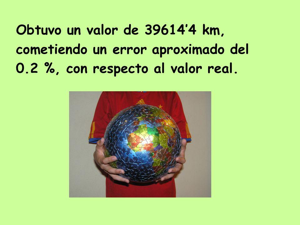 Obtuvo un valor de 396144 km, cometiendo un error aproximado del 0.2 %, con respecto al valor real.