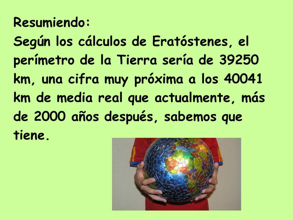 Resumiendo: Según los cálculos de Eratóstenes, el perímetro de la Tierra sería de 39250 km, una cifra muy próxima a los 40041 km de media real que act