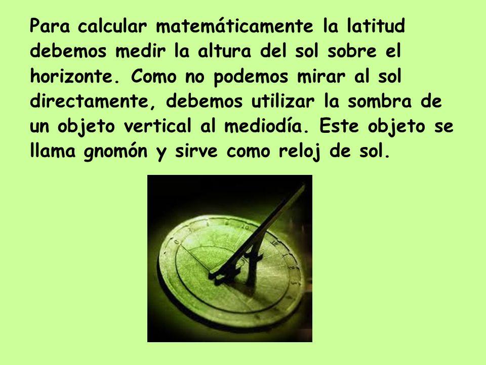 Para calcular matemáticamente la latitud debemos medir la altura del sol sobre el horizonte. Como no podemos mirar al sol directamente, debemos utiliz
