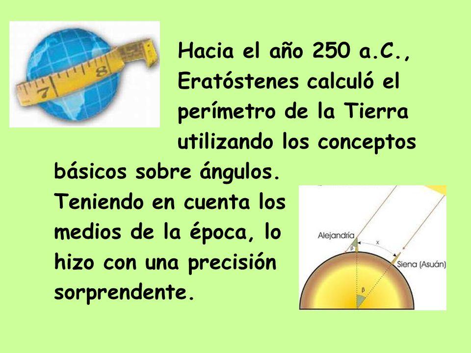 Hacia el año 250 a.C., Eratóstenes calculó el perímetro de la Tierra utilizando los conceptos básicos sobre ángulos. Teniendo en cuenta los medios de