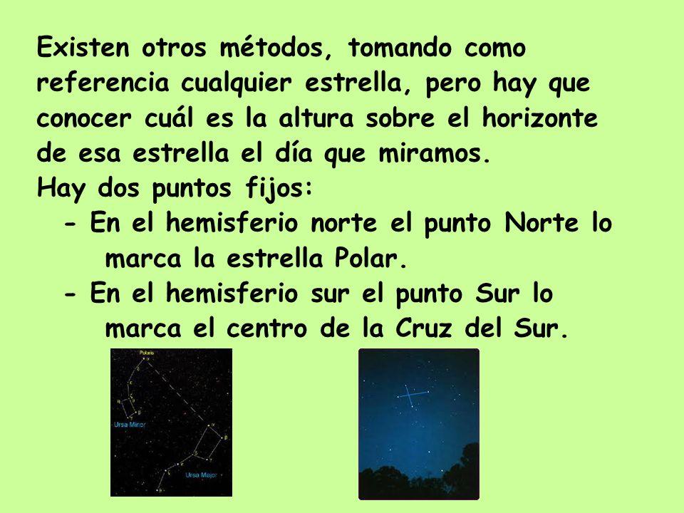 Existen otros métodos, tomando como referencia cualquier estrella, pero hay que conocer cuál es la altura sobre el horizonte de esa estrella el día qu