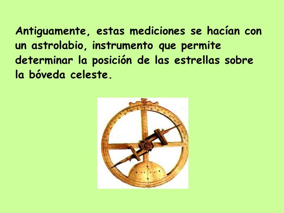 Antiguamente, estas mediciones se hacían con un astrolabio, instrumento que permite determinar la posición de las estrellas sobre la bóveda celeste.