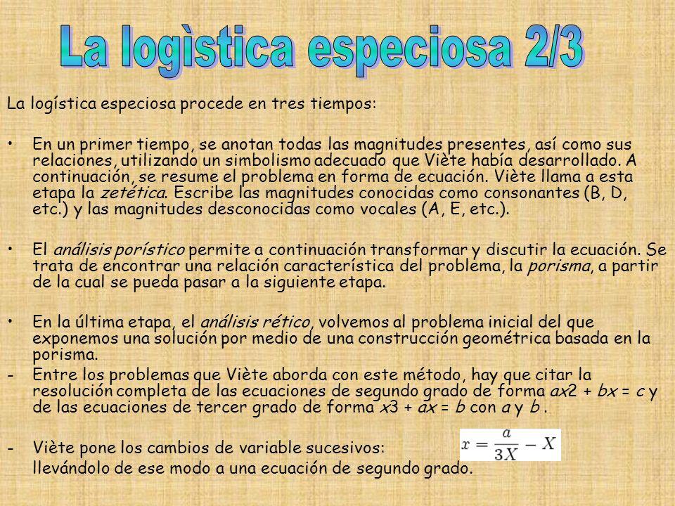 La logística especiosa procede en tres tiempos: En un primer tiempo, se anotan todas las magnitudes presentes, así como sus relaciones, utilizando un simbolismo adecuado que Viète había desarrollado.