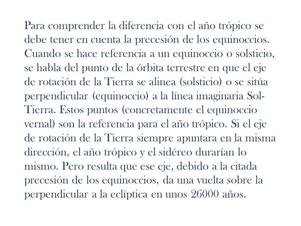 Para comprender la diferencia con el año trópico se debe tener en cuenta la precesión de los equinoccios. Cuando se hace referencia a un equinoccio o