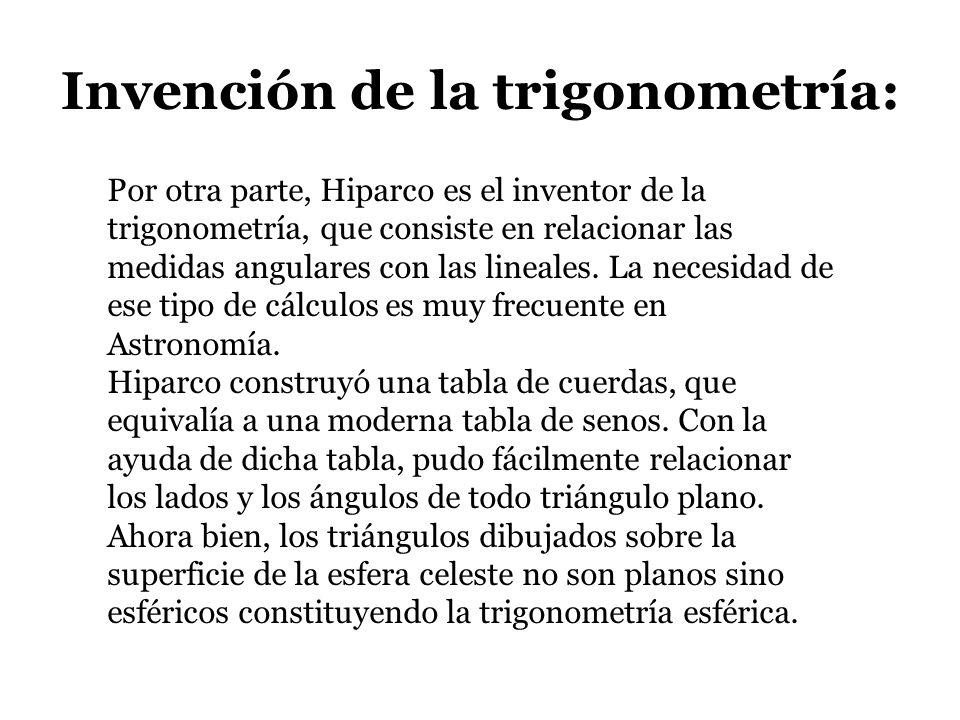 Invención de la trigonometría: Por otra parte, Hiparco es el inventor de la trigonometría, que consiste en relacionar las medidas angulares con las li