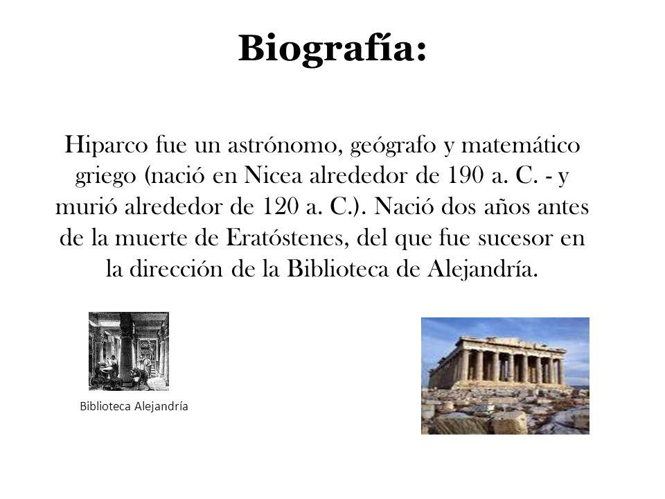 Biografía: Hiparco fue un astrónomo, geógrafo y matemático griego (nació en Nicea alrededor de 190 a. C. - y murió alrededor de 120 a. C.). Nació dos
