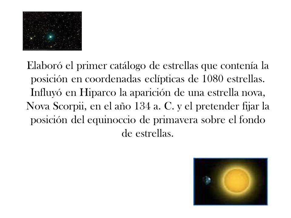 Elaboró el primer catálogo de estrellas que contenía la posición en coordenadas eclípticas de 1080 estrellas. Influyó en Hiparco la aparición de una e
