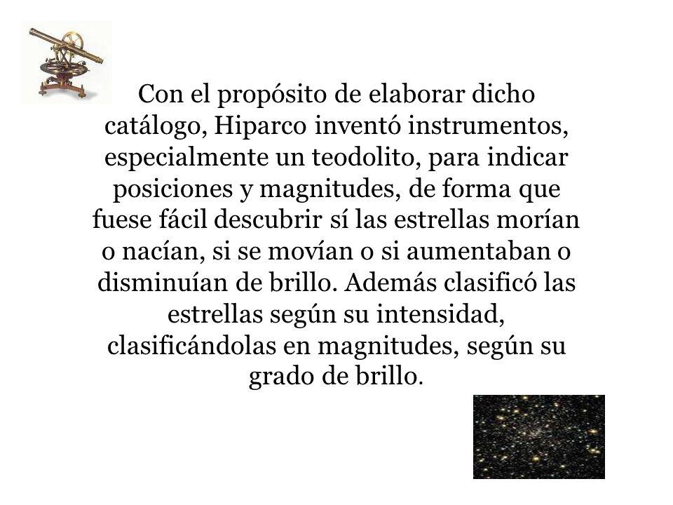 Con el propósito de elaborar dicho catálogo, Hiparco inventó instrumentos, especialmente un teodolito, para indicar posiciones y magnitudes, de forma