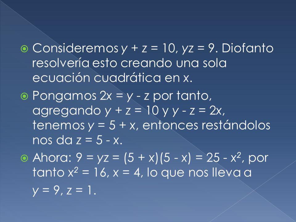 Diofanto consideró estos tres tipos de ecuaciones cuadráticas: ax 2 + bx = c, ax 2 = bx + c y ax 2 + c = bx. La razón por la cual existen tres casos p