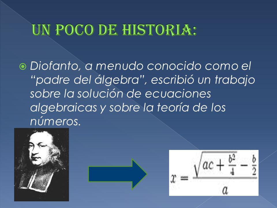 Diofanto, a menudo conocido como el padre del álgebra, escribió un trabajo sobre la solución de ecuaciones algebraicas y sobre la teoría de los números.