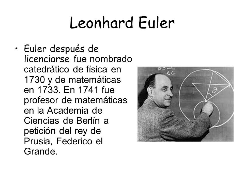 Leonhard Euler Euler tuvo un problema ya que perdió la vista antes de los treinta años aunque esto no le impidió seguir investigando.