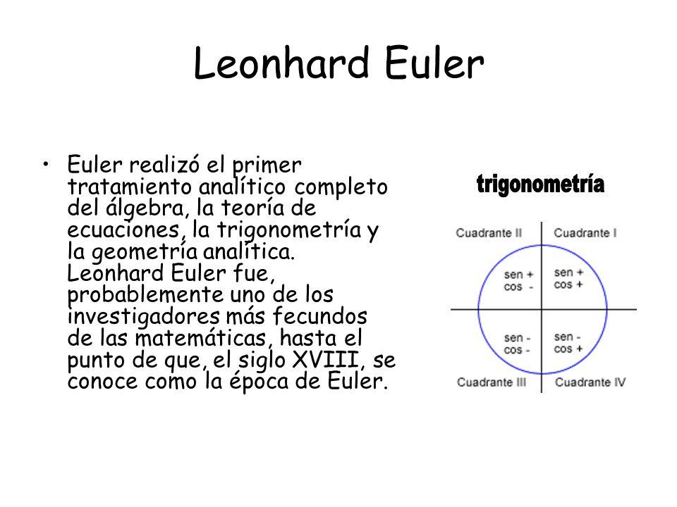 Leonhard Euler Euler realizó el primer tratamiento analítico completo del álgebra, la teoría de ecuaciones, la trigonometría y la geometría analítica.