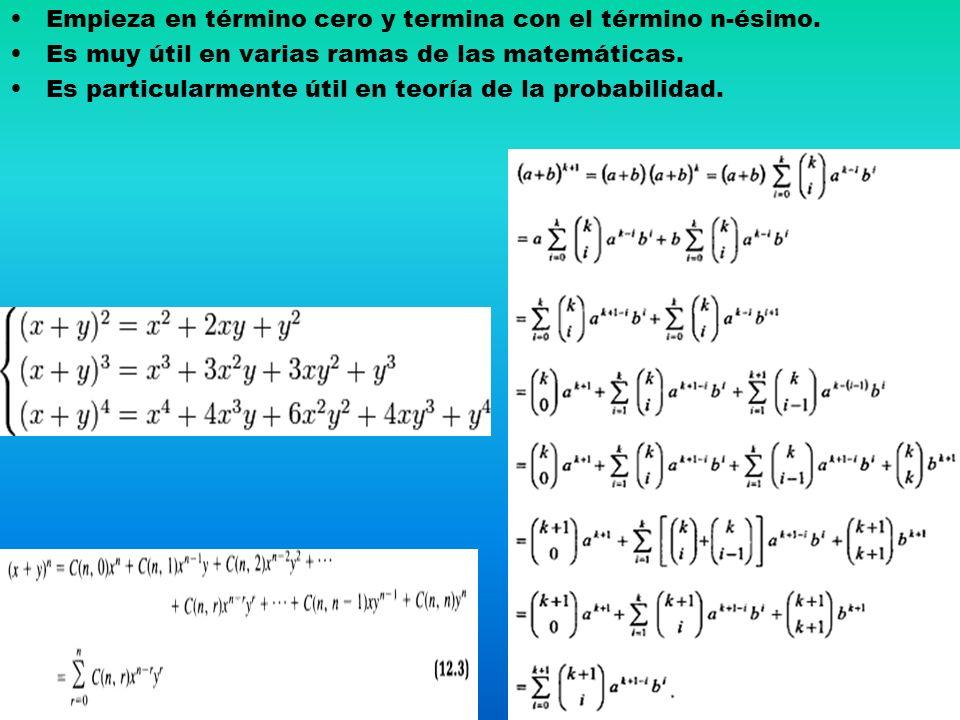 Empieza en término cero y termina con el término n-ésimo. Es muy útil en varias ramas de las matemáticas. Es particularmente útil en teoría de la prob