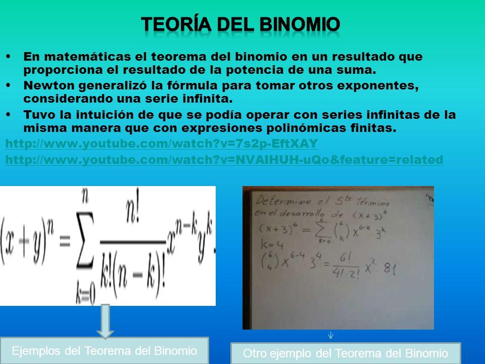 En matemáticas el teorema del binomio en un resultado que proporciona el resultado de la potencia de una suma. Newton generalizó la fórmula para tomar
