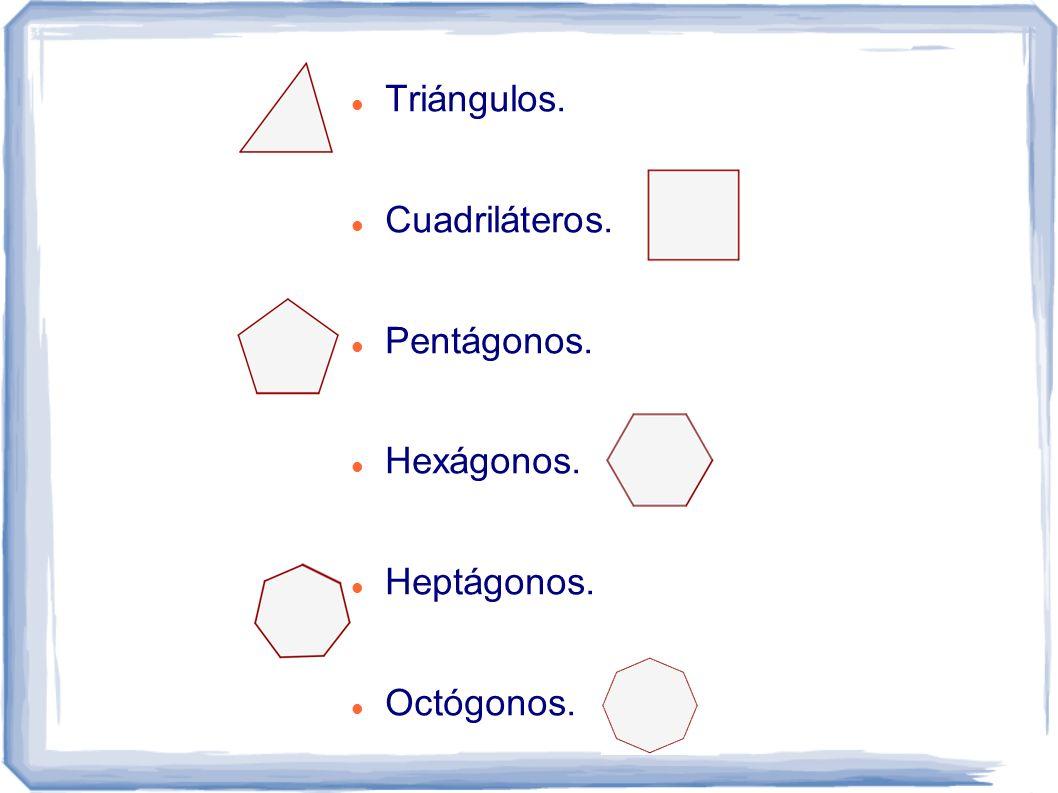 Triángulos. Cuadriláteros. Pentágonos. Hexágonos. Heptágonos. Octógonos.