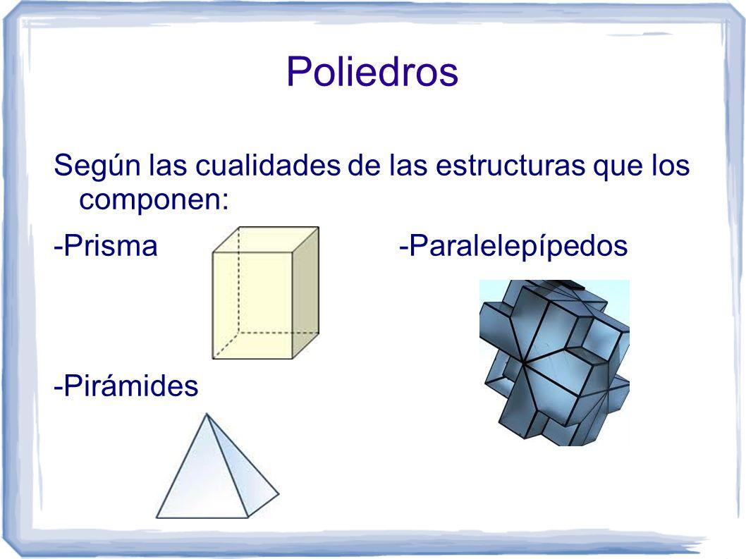Poliedros Según las cualidades de las estructuras que los componen: -Prisma -Paralelepípedos -Pirámides