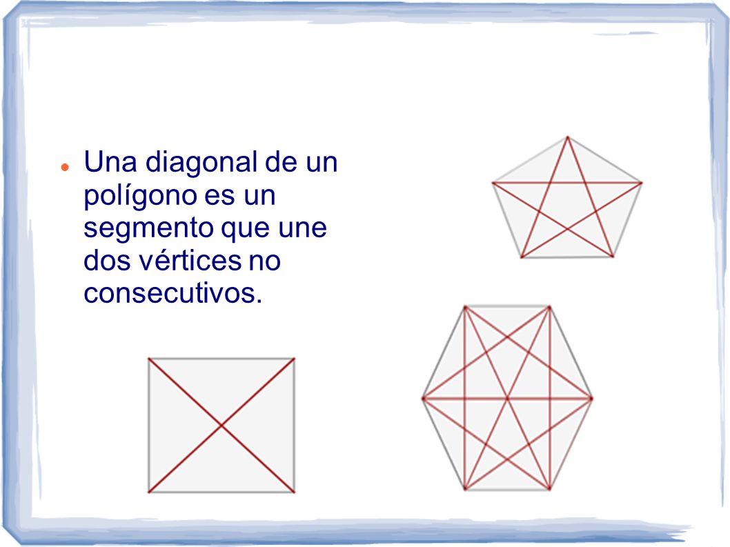 Una diagonal de un polígono es un segmento que une dos vértices no consecutivos.