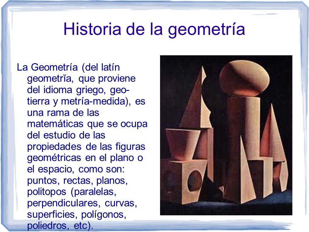 Historia de la geometría La Geometría (del latín geometrĭa, que proviene del idioma griego, geo- tierra y metría-medida), es una rama de las matemátic