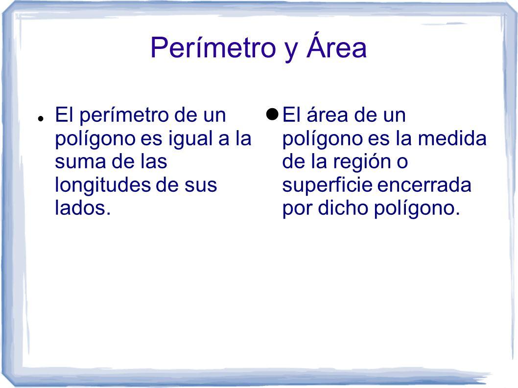 Perímetro y Área El perímetro de un polígono es igual a la suma de las longitudes de sus lados. El área de un polígono es la medida de la región o sup