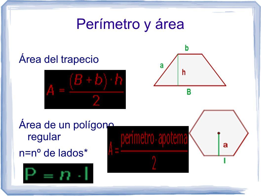 Perímetro y área Área del trapecio Área de un polígono regular n=nº de lados*
