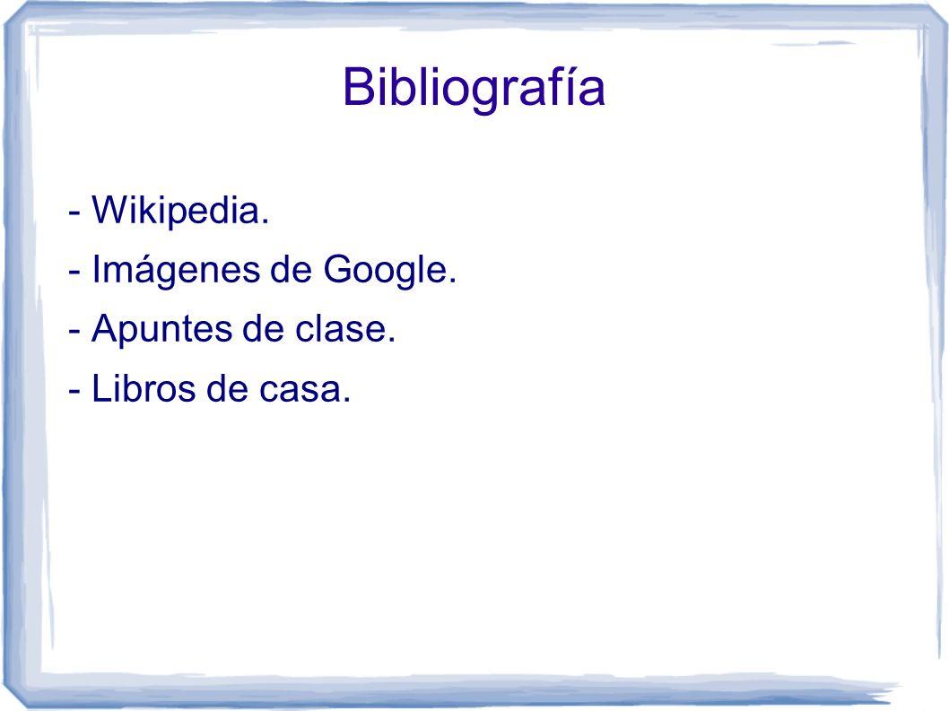 Bibliografía - Wikipedia. - Imágenes de Google. - Apuntes de clase. - Libros de casa.