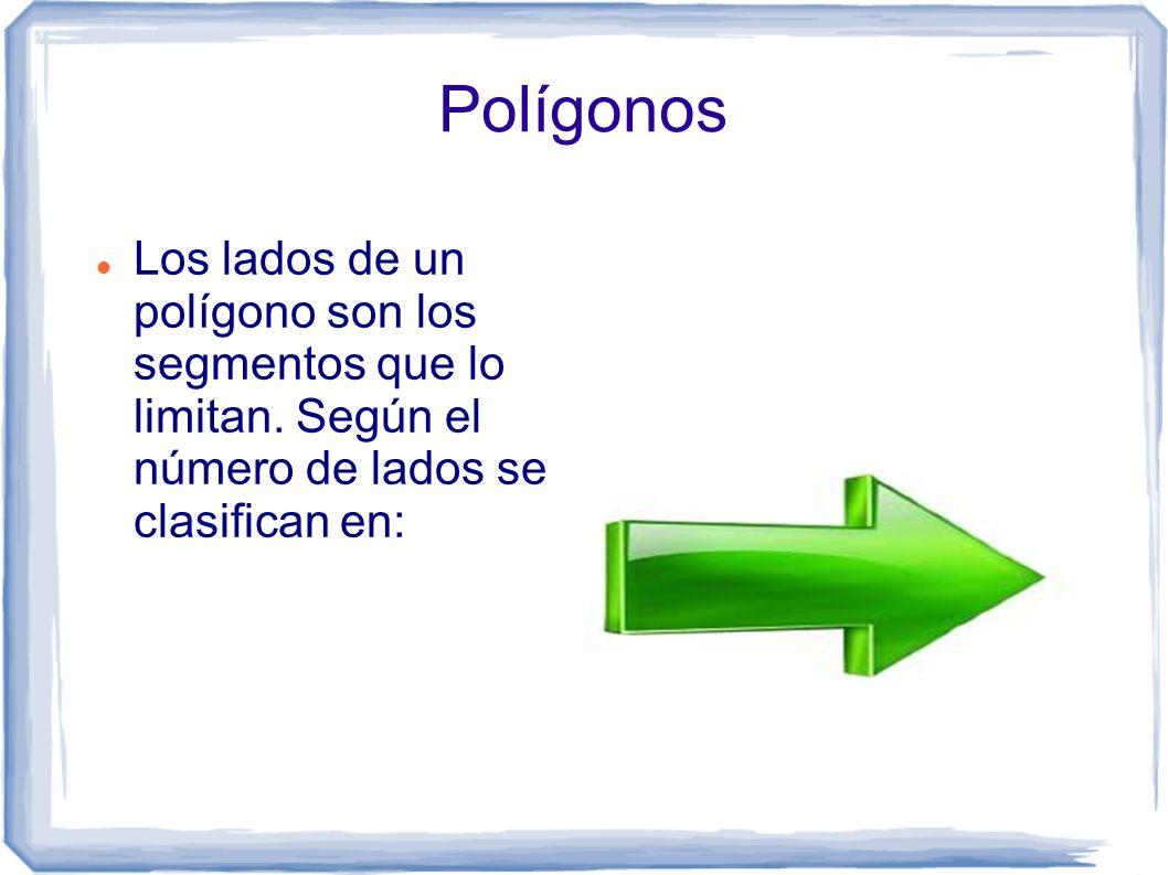 Polígonos Los lados de un polígono son los segmentos que lo limitan. Según el número de lados se clasifican en: