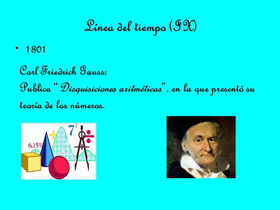 Línea del tiempo (IX) 1801 Carl Friedrich Gauss: Publica Disquisiciones aritméticas, en la que presentó su teoría de los números.