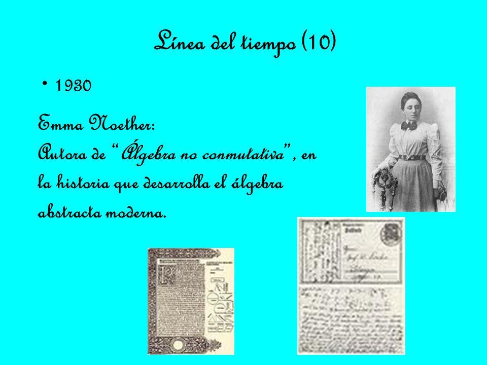 Línea del tiempo (10) 1930 Emma Noether: Autora de Álgebra no conmutativa, en la historia que desarrolla el álgebra abstracta moderna.