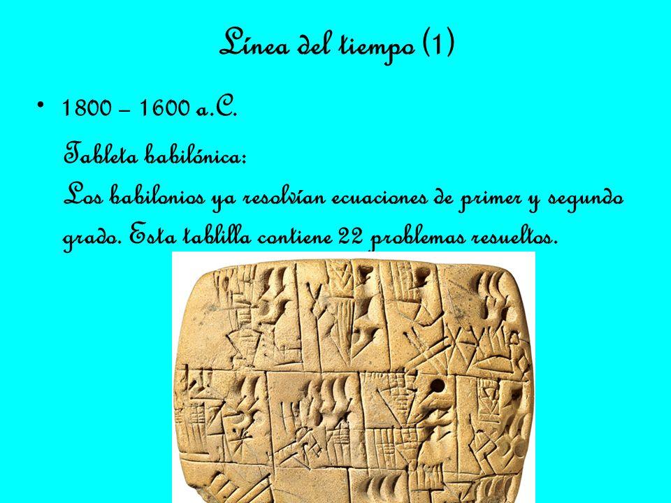 Línea del tiempo (1) 1800 – 1600 a.C. Tableta babilónica: Los babilonios ya resolvían ecuaciones de primer y segundo grado. Esta tablilla contiene 22