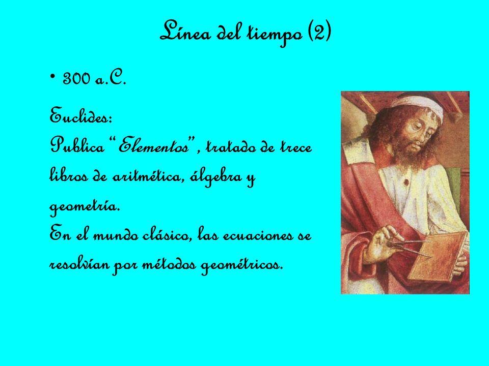 Línea del tiempo (2) 300 a.C. Euclides: Publica Elementos, tratado de trece libros de aritmética, álgebra y geometría. En el mundo clásico, las ecuaci