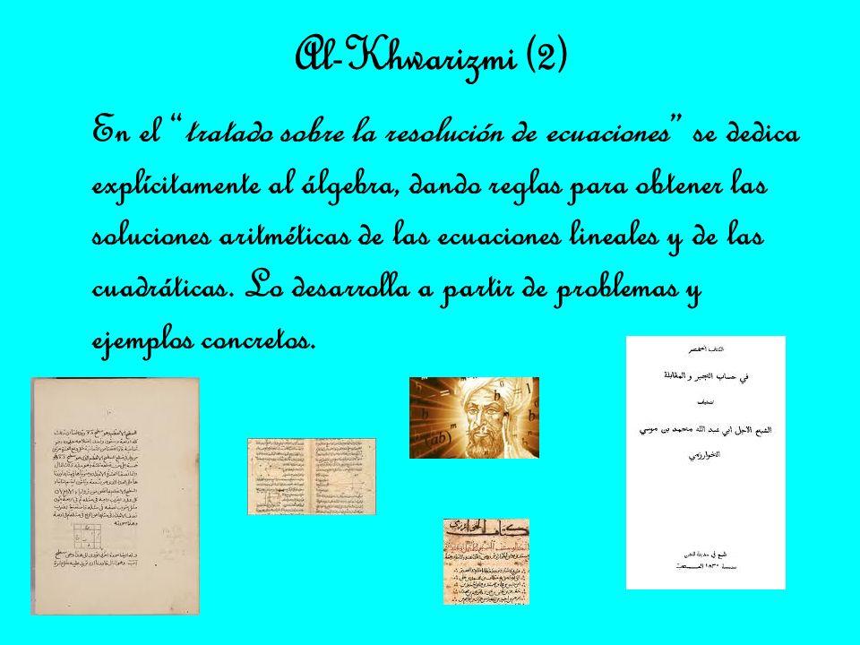En el tratado sobre la resolución de ecuaciones se dedica explícitamente al álgebra, dando reglas para obtener las soluciones aritméticas de las ecuac