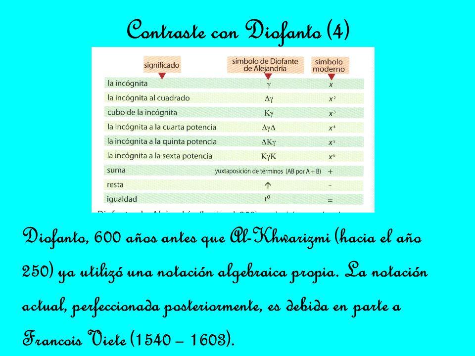Diofanto, 600 años antes que Al-Khwarizmi (hacia el año 250) ya utilizó una notación algebraica propia. La notación actual, perfeccionada posteriormen