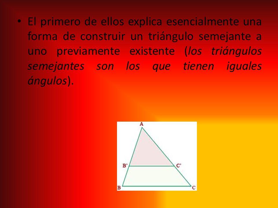 El primero de ellos explica esencialmente una forma de construir un triángulo semejante a uno previamente existente (los triángulos semejantes son los