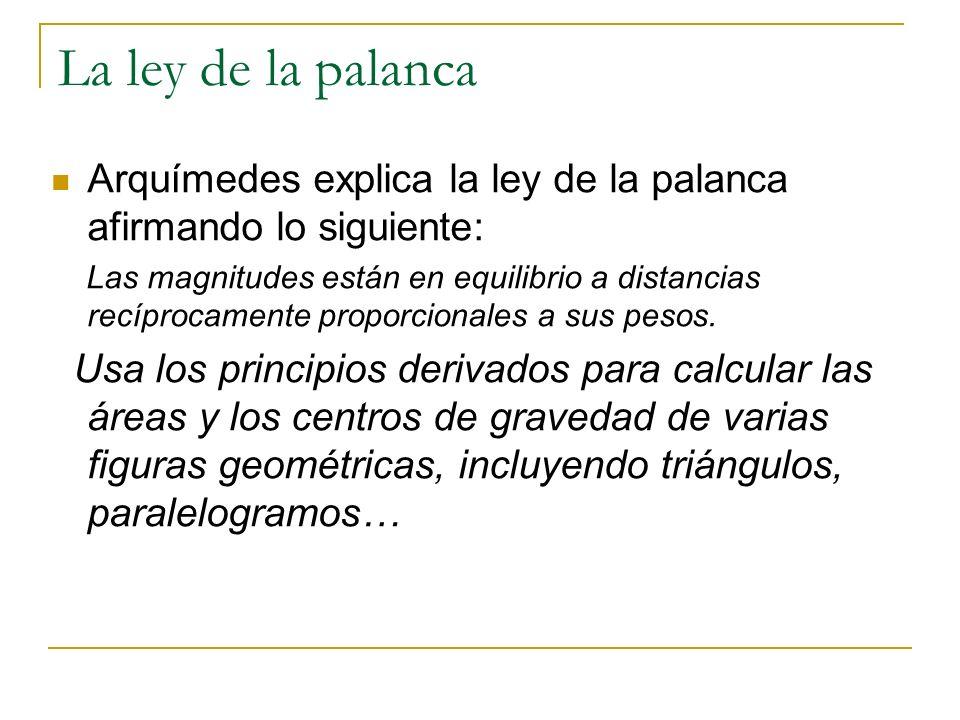 Arquímedes explica la ley de la palanca afirmando lo siguiente: Las magnitudes están en equilibrio a distancias recíprocamente proporcionales a sus pe