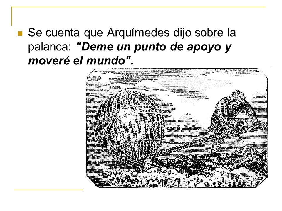 Se cuenta que Arquímedes dijo sobre la palanca: