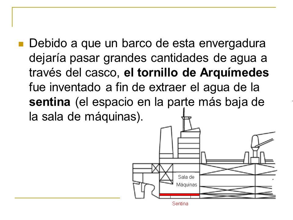 Debido a que un barco de esta envergadura dejaría pasar grandes cantidades de agua a través del casco, el tornillo de Arquímedes fue inventado a fin d
