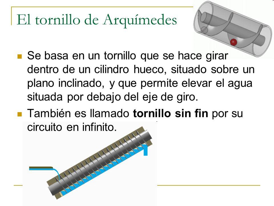 El tornillo de Arquímedes Se basa en un tornillo que se hace girar dentro de un cilindro hueco, situado sobre un plano inclinado, y que permite elevar