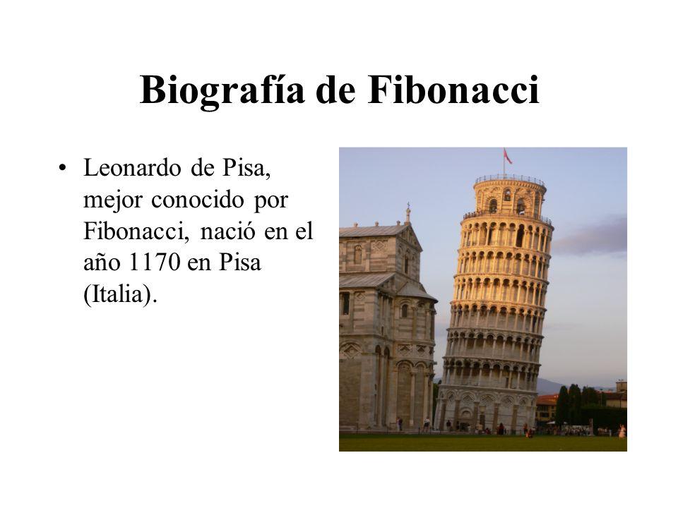 Biografía de Fibonacci Leonardo de Pisa, mejor conocido por Fibonacci, nació en el año 1170 en Pisa (Italia).