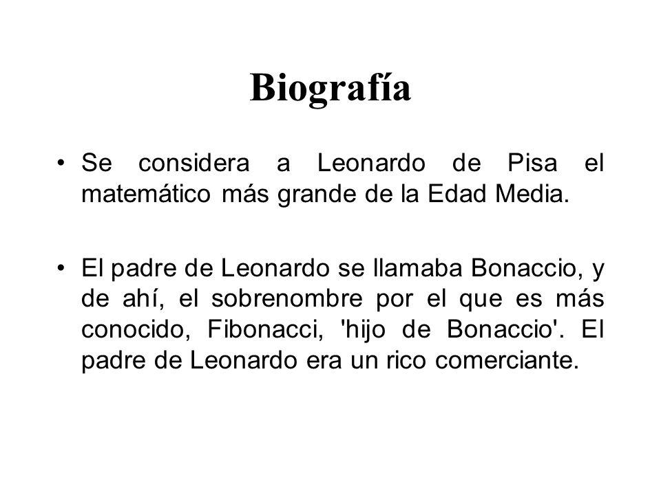 Biografía Se considera a Leonardo de Pisa el matemático más grande de la Edad Media.