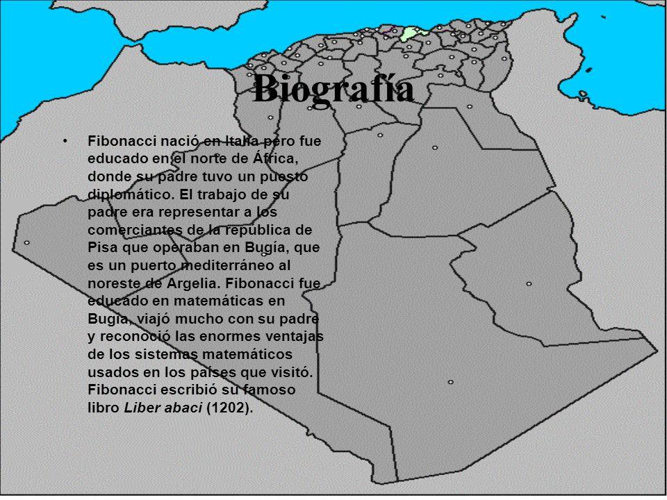 Biografía Fibonacci nació en Italia pero fue educado en el norte de África, donde su padre tuvo un puesto diplomático.