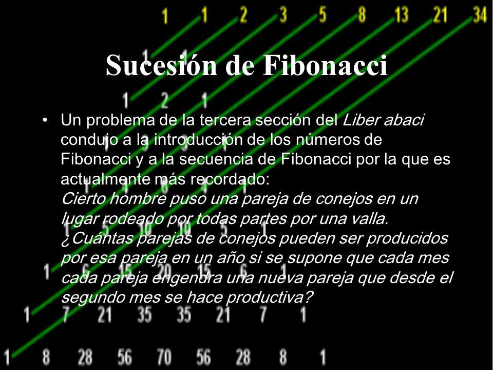 Sucesión de Fibonacci Un problema de la tercera sección del Liber abaci condujo a la introducción de los números de Fibonacci y a la secuencia de Fibonacci por la que es actualmente más recordado: Cierto hombre puso una pareja de conejos en un lugar rodeado por todas partes por una valla.