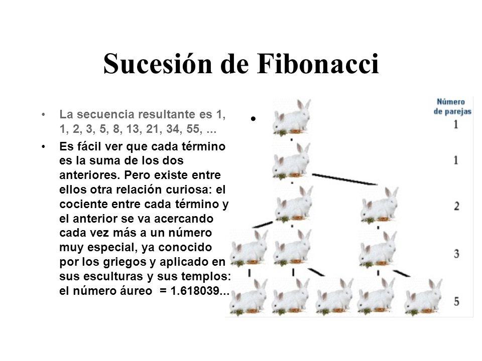 Sucesión de Fibonacci La secuencia resultante es 1, 1, 2, 3, 5, 8, 13, 21, 34, 55,...