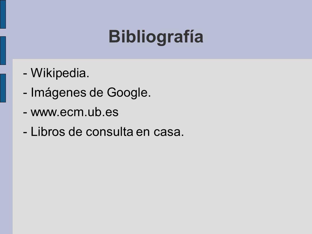 Bibliografía - Wikipedia. - Imágenes de Google. - www.ecm.ub.es - Libros de consulta en casa.