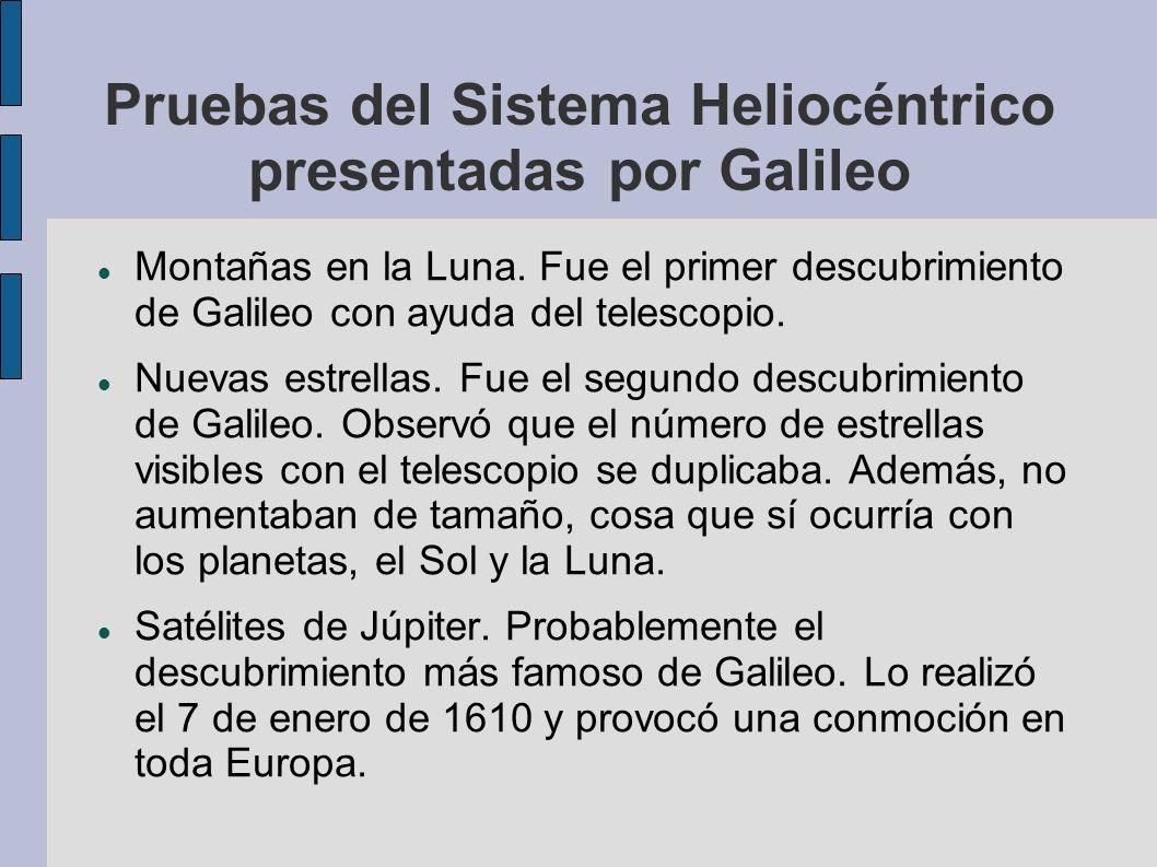 Pruebas del Sistema Heliocéntrico presentadas por Galileo Montañas en la Luna. Fue el primer descubrimiento de Galileo con ayuda del telescopio. Nueva