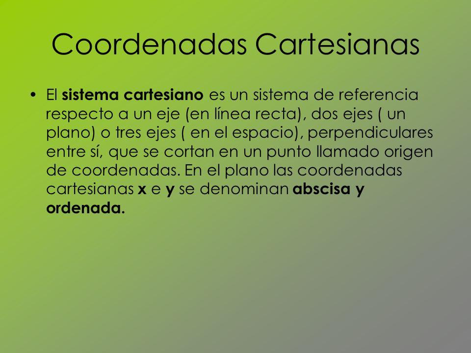 Coordenadas Cartesianas El sistema cartesiano es un sistema de referencia respecto a un eje (en línea recta), dos ejes ( un plano) o tres ejes ( en el