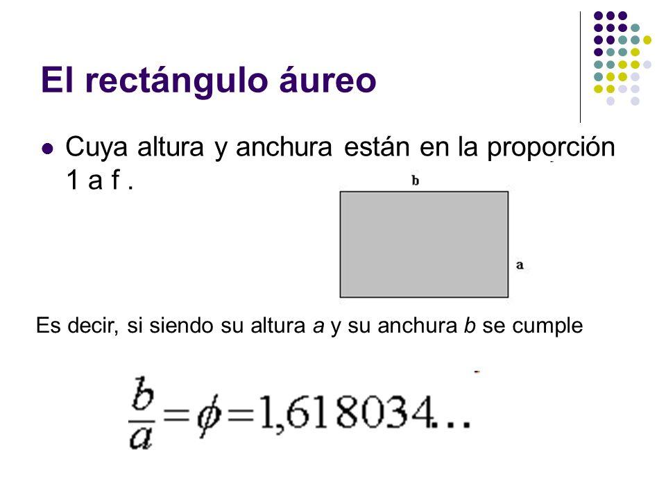 El rectángulo áureo Cuya altura y anchura están en la proporción 1 a f. Es decir, si siendo su altura a y su anchura b se cumple